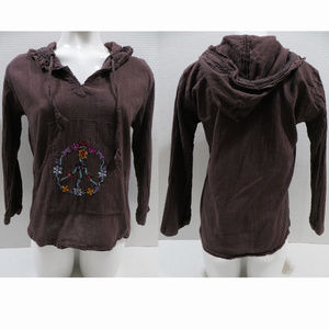Gypsy Rose top Free Size pullover hooded floral